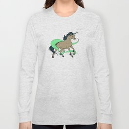 Magical Unicorn (Tan and Navy) Long Sleeve T-shirt