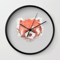 red panda Wall Clocks featuring Red Panda by Zach Terrell