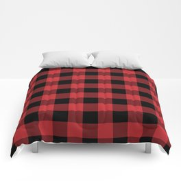Red and Black Buffalo Plaid Lumberjack Rustic Comforters
