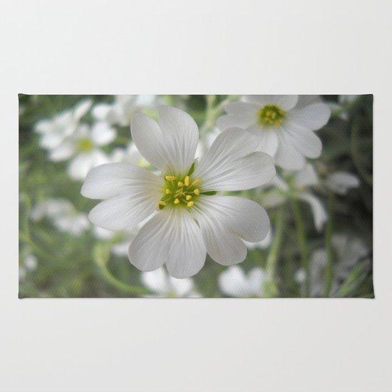 Spring. White Flowers. Rug