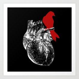 Anatomy of love II - heart full of birdsong Art Print