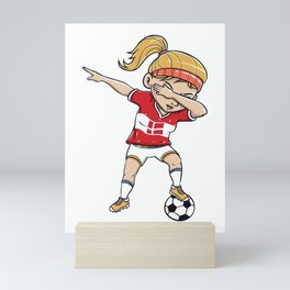 Dabbing Soccer Player Funny Denmark Fan print girl Mini Art Print