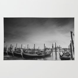 Venice, black-and-white, gondola, dark Rug