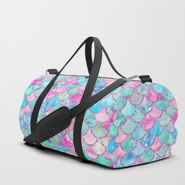 Colorful Pink and Blue Watercolor Trendy Glitter Mermaid Scales  Duffle Bag