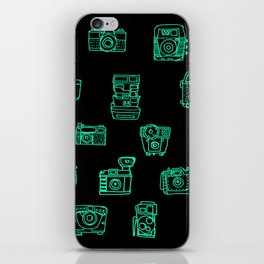 Cameras: Teal - pop art illustration iPhone Skin