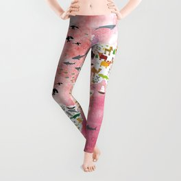 Cartoon animal world map, back to school. Animals from all over the world, pink watercolour watercolor Leggings