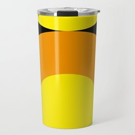 Two suns, one yellow with orange rays,the other orange with yellow rays,both floating in a black sky Travel Mug