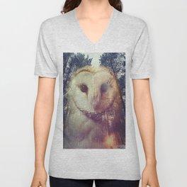 Merge owl and forest reflection Unisex V-Neck