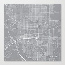 Spokane Map, Washington USA - Pewter Canvas Print