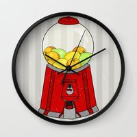 gumball Wall Clocks featuring Gumball Machine. by Bedelia June