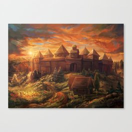 Medieval Fortress at Sunrise Canvas Print