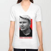 formula 1 V-neck T-shirts featuring Formula One - Mika Hakkinen by Vehicle