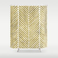 gold foil Shower Curtains featuring Gold Foil Chevron by Berty Bob