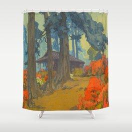 Azalea Garden (Teahouse) 1938 Vintage Beautiful Japanese Woodblock Print Hiroshi Yoshida Shower Curtain