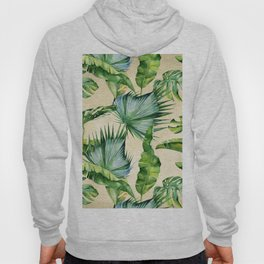 Green Tropics Leaves on Linen Hoody
