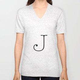 Letter J Typewriting Unisex V-Neck