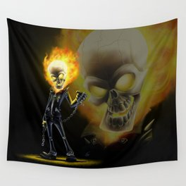 Flaming Skullface v2 Wall Tapestry