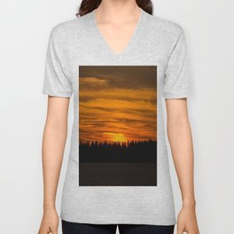 Cloudy Sunset With Forest Line - Scenic Landscape - #society6 #decor #buyart Unisex V-Neck