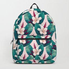 Trendy Tropical Plumeria Flowers Green Foliage Design Backpack