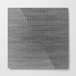 Antiallergenic Hand Knitted Grey Wool Pattern - Mix & Match with Simplicty of life Metal Print