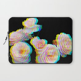 Pale Pink Roses on Black with Glitch Laptop Sleeve