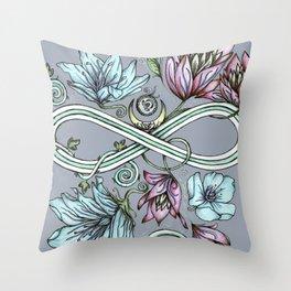 Infinity Floral Moon Garden in Gray Throw Pillow