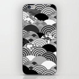 Nature background with japanese sakura flower, Cherry, wave circle Black gray white colors iPhone Skin