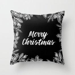 Merry Christmas Black and White Throw Pillow