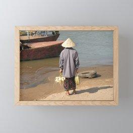 Lao Woman Coming from the Farmer's market Framed Mini Art Print