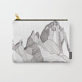 Patterns on Patagonia / Black and White Mountain Drawing / Abstract Mountain Landscape Carry-All Pouch