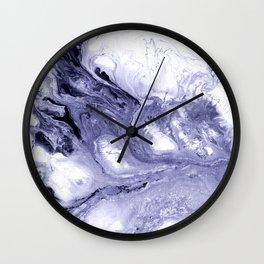 Indigo, black & white abstract II Wall Clock