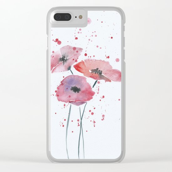 Red poppy flowers watercolor painting Clear iPhone Case