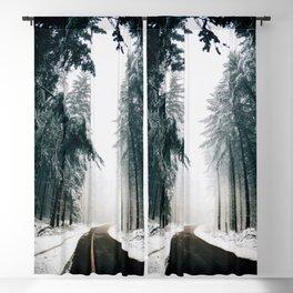 Winding Winter Roads Blackout Curtain
