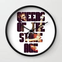 queens of the stone age Wall Clocks featuring Queens Of The Stone Age QOTSA Font Josh Homme Guitar by Fligo