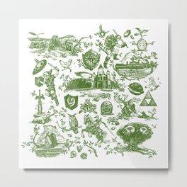 "Zelda ""Hero of Time"" Toile Pattern - Kokiri's Emerald Metal Print"