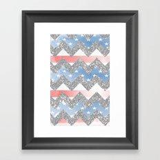 american flag glitter chevron Framed Art Print