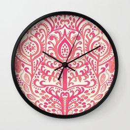 Strawberry and Cream Watercolor Tulip Damask Wall Clock