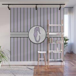 Purple Sea Horse Stripes Pattern Design Wall Mural