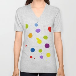 Seamless pattern background with rainbow blots Unisex V-Neck