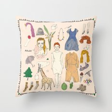 paper doll Throw Pillow