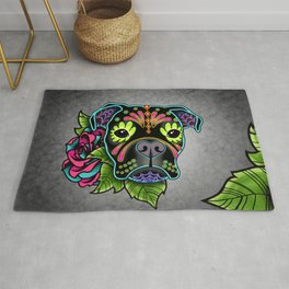 Boxer in Black - Day of the Dead Sugar Skull Dog Rug