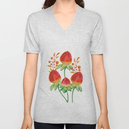 Hand painted orange red green watercolor fall floral Unisex V-Neck