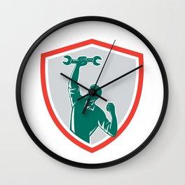 Mechanic Spanner Wrench Fist Pump Shield Wall Clock