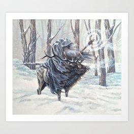 Wizard Riding an Elk in the Snow Art Print