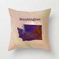 washington Throw Pillows featuring Washington Map by Roger Wedegis