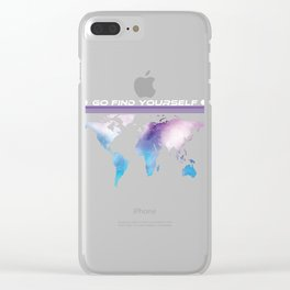 Go Find Yourself - Travel T-Shirt For Everyone, Backpacker, Traveler, Flight Catchers and Adventurer Clear iPhone Case