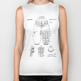 Football Pants Patent - Football Art - Black And White Biker Tank