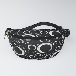 Enso Circle - Zen pattern on black with gold Fanny Pack