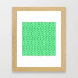 Fragmented Turquoise Mint Green Hexagons with Butter Cream Yellow Geometric Country Design Pattern Framed Art Print