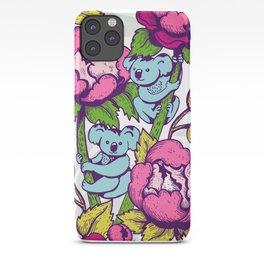 Peony flowers and koalas bears iPhone Case